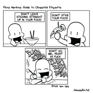 chopstick etiquette cartoon